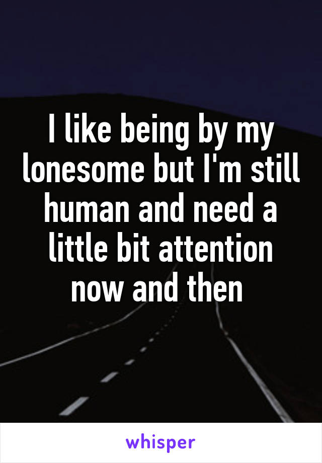 I like being by my lonesome but I'm still human and need a little bit attention now and then