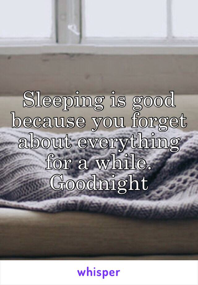 Sleeping is good because you forget about everything for a while. Goodnight