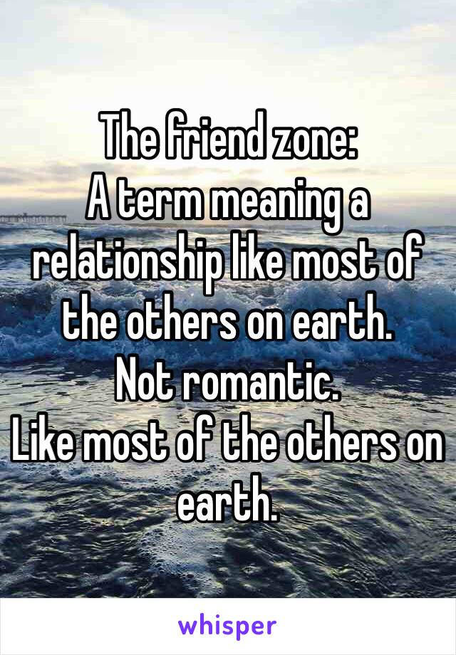The friend zone: A term meaning a relationship like most of the others on earth.  Not romantic.  Like most of the others on earth.