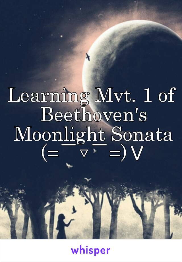 Learning Mvt. 1 of Beethoven's Moonlight Sonata (= ̄▽ ̄=)V