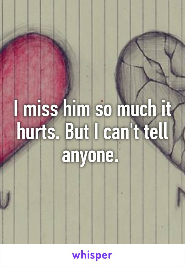 I miss him so much it hurts. But I can't tell anyone.