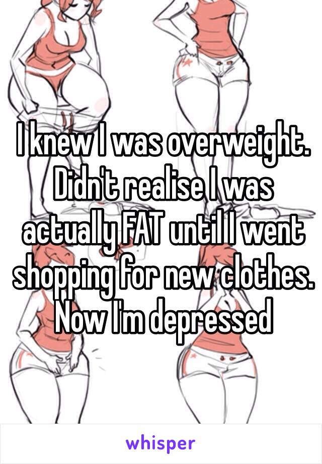 I knew I was overweight. Didn't realise I was actually FAT until I went shopping for new clothes.  Now I'm depressed