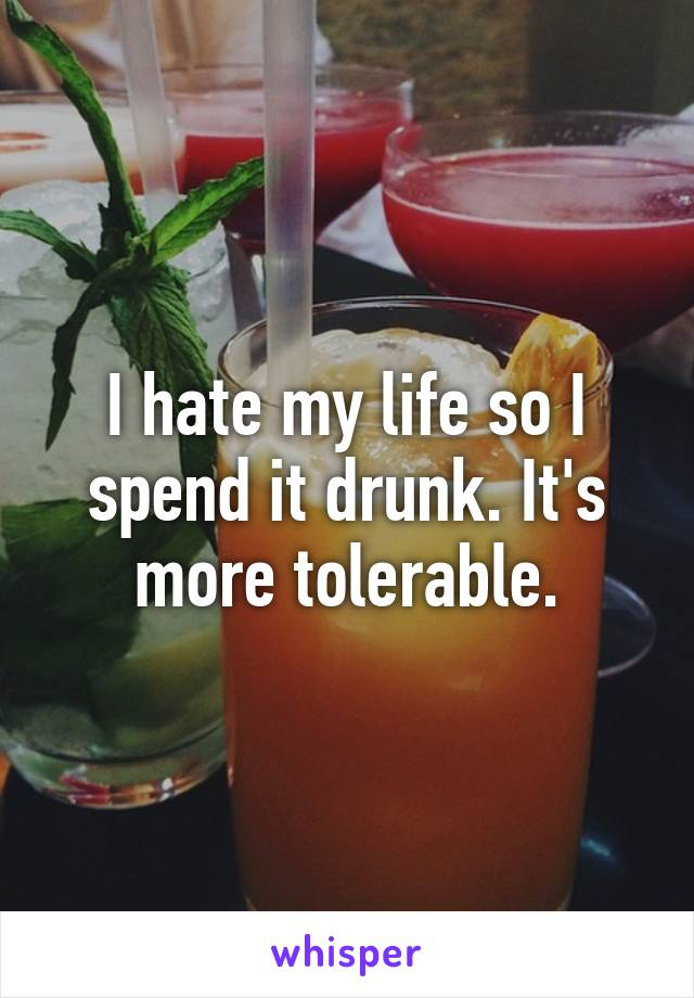 I hate my life so I spend it drunk. It's more tolerable.