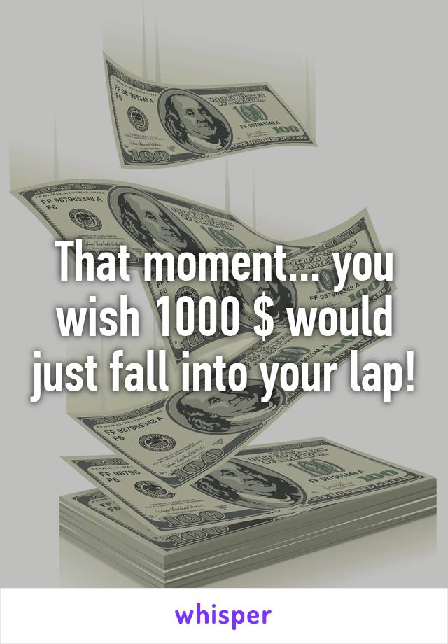 That moment... you wish 1000 $ would just fall into your lap!