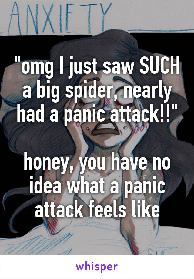 """""""omg I just saw SUCH a big spider, nearly had a panic attack!!""""  honey, you have no idea what a panic attack feels like"""