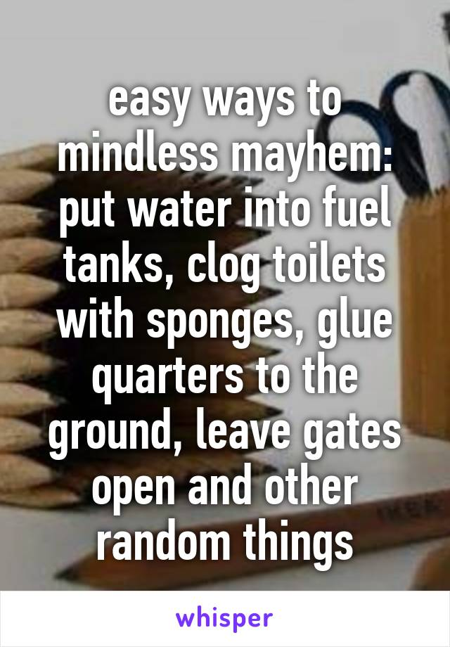 easy ways to mindless mayhem: put water into fuel tanks, clog toilets with sponges, glue quarters to the ground, leave gates open and other random things