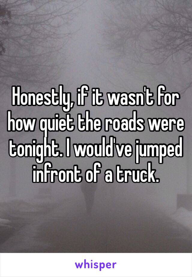 Honestly, if it wasn't for how quiet the roads were tonight. I would've jumped infront of a truck.