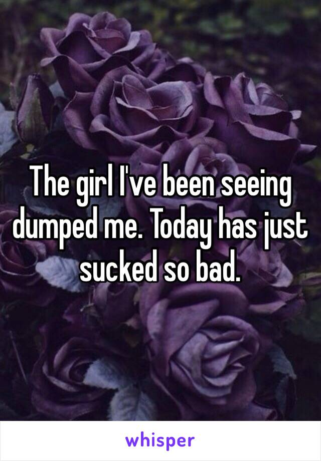 The girl I've been seeing dumped me. Today has just sucked so bad.