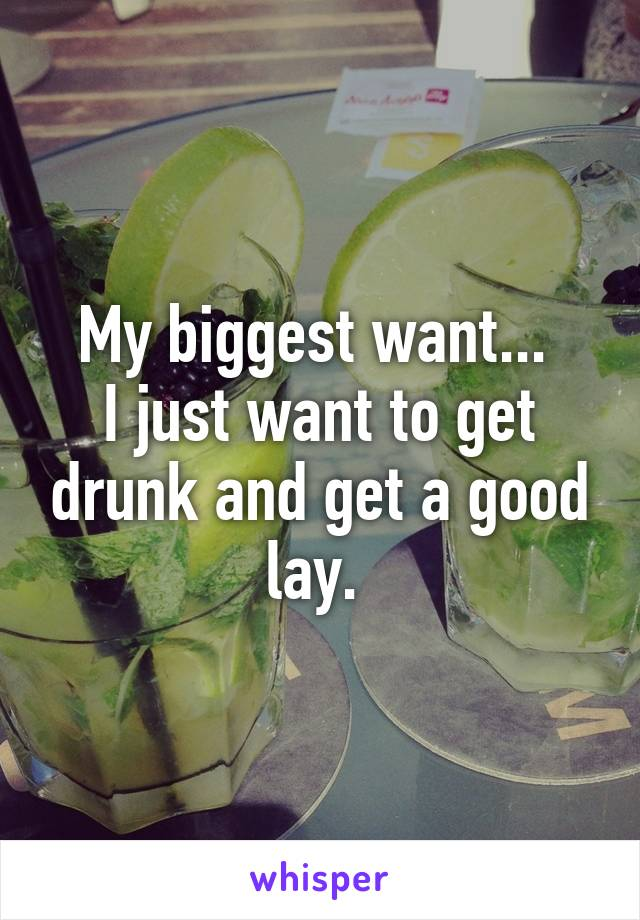 My biggest want...  I just want to get drunk and get a good lay.