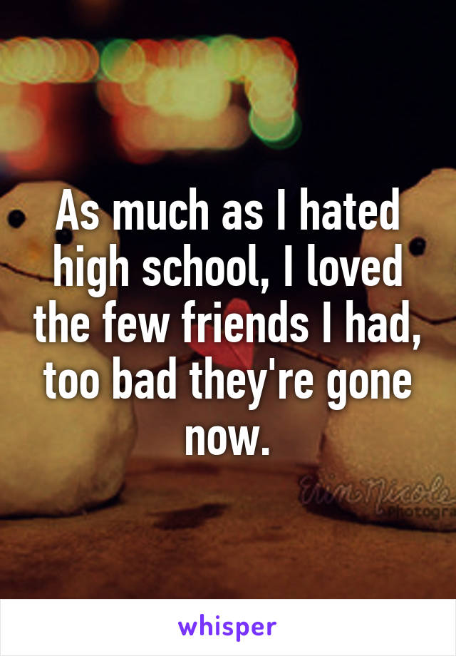 As much as I hated high school, I loved the few friends I had, too bad they're gone now.