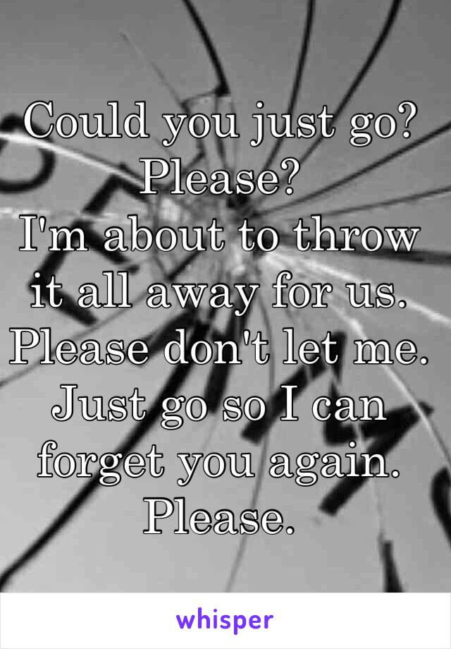 Could you just go?  Please? I'm about to throw it all away for us.  Please don't let me.  Just go so I can forget you again.  Please.