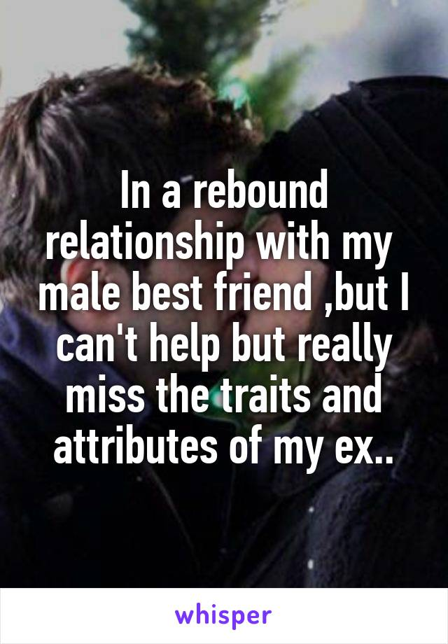 In a rebound relationship with my  male best friend ,but I can't help but really miss the traits and attributes of my ex..
