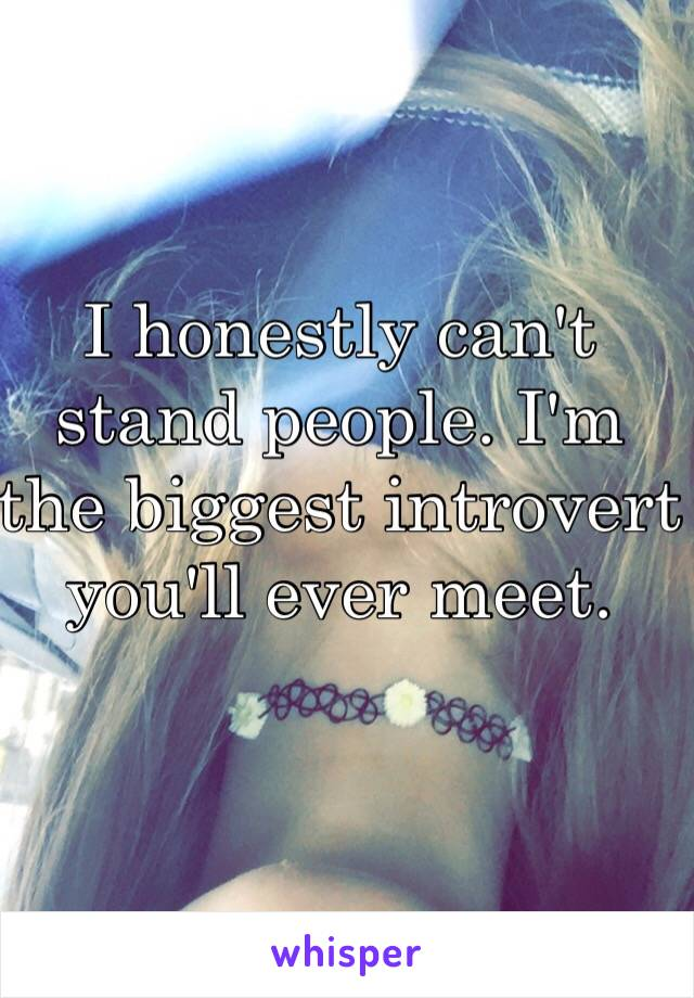 I honestly can't stand people. I'm the biggest introvert you'll ever meet.
