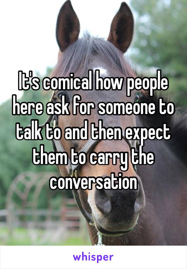 It's comical how people here ask for someone to talk to and then expect them to carry the conversation