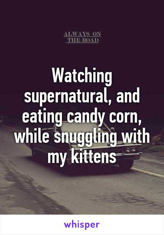Watching supernatural, and eating candy corn, while snuggling with my kittens