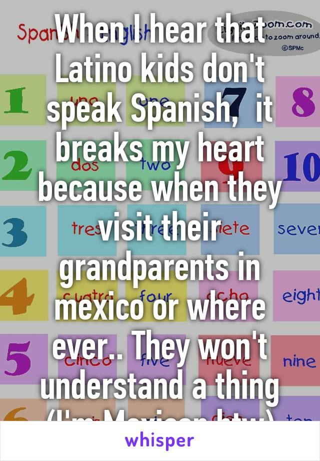 When I hear that Latino kids don't speak Spanish,  it breaks my heart because when they visit their grandparents in mexico or where ever.. They won't understand a thing (I'm Mexican btw)