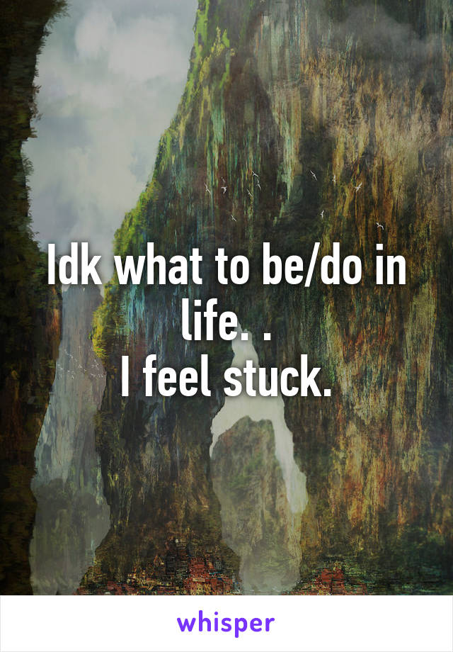 Idk what to be/do in life. . I feel stuck.