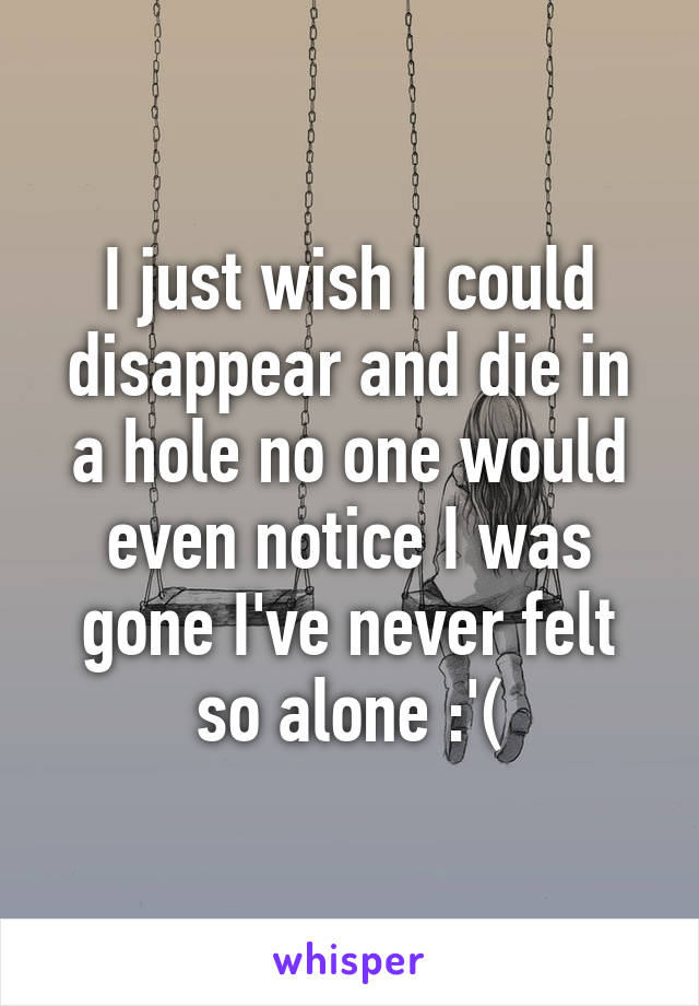 I just wish I could disappear and die in a hole no one would even notice I was gone I've never felt so alone :'(