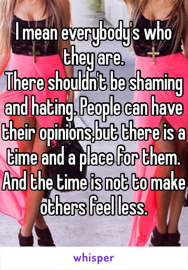 I mean everybody's who they are. There shouldn't be shaming and hating. People can have their opinions,but there is a time and a place for them. And the time is not to make others feel less.