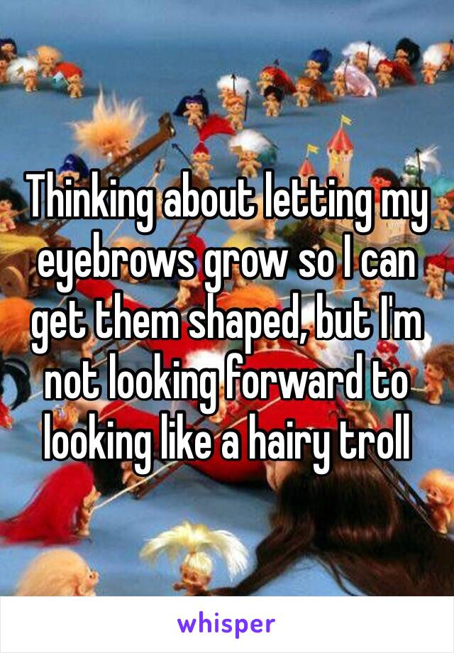 Thinking about letting my eyebrows grow so I can get them shaped, but I'm not looking forward to looking like a hairy troll
