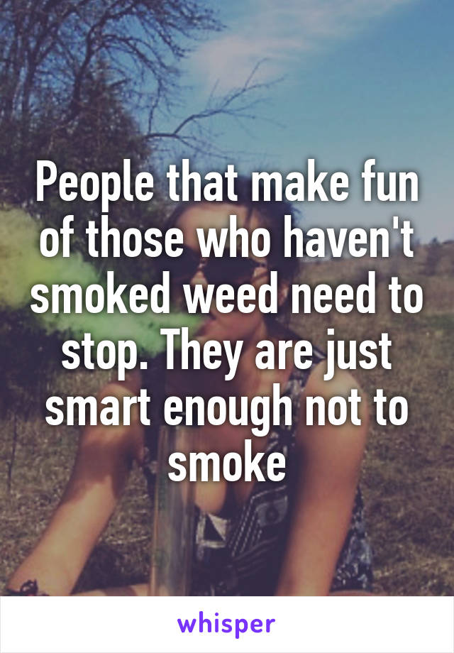 People that make fun of those who haven't smoked weed need to stop. They are just smart enough not to smoke