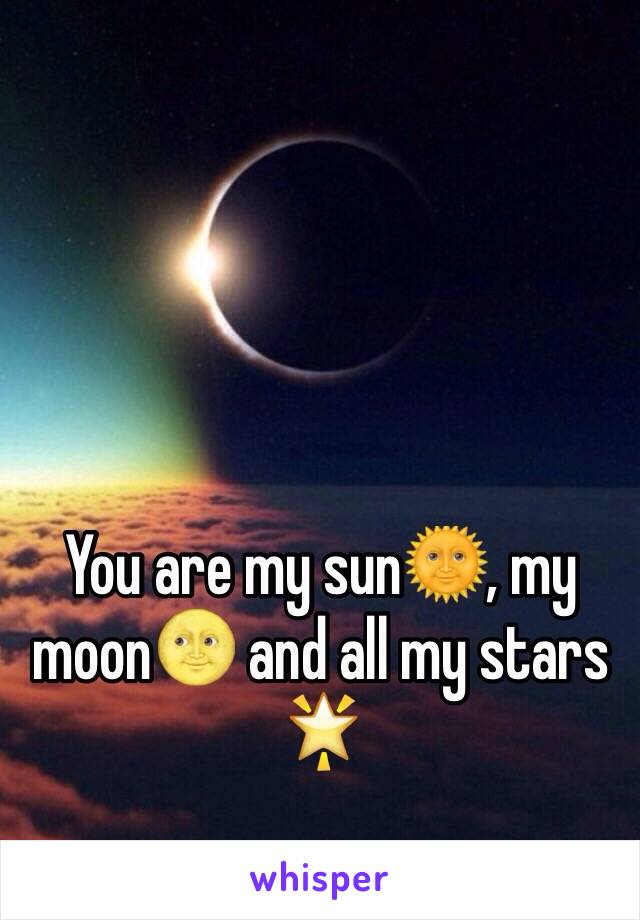 You are my sun🌞, my moon🌝 and all my stars 🌟