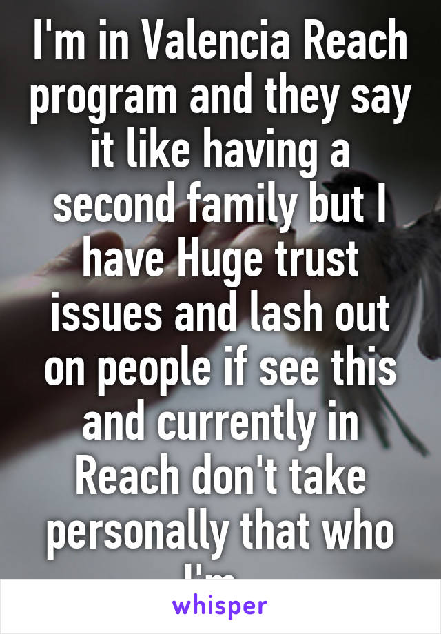 I'm in Valencia Reach program and they say it like having a second family but I have Huge trust issues and lash out on people if see this and currently in Reach don't take personally that who I'm.