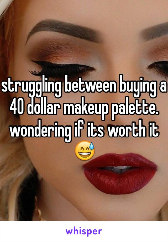 struggling between buying a 40 dollar makeup palette. wondering if its worth it 😅