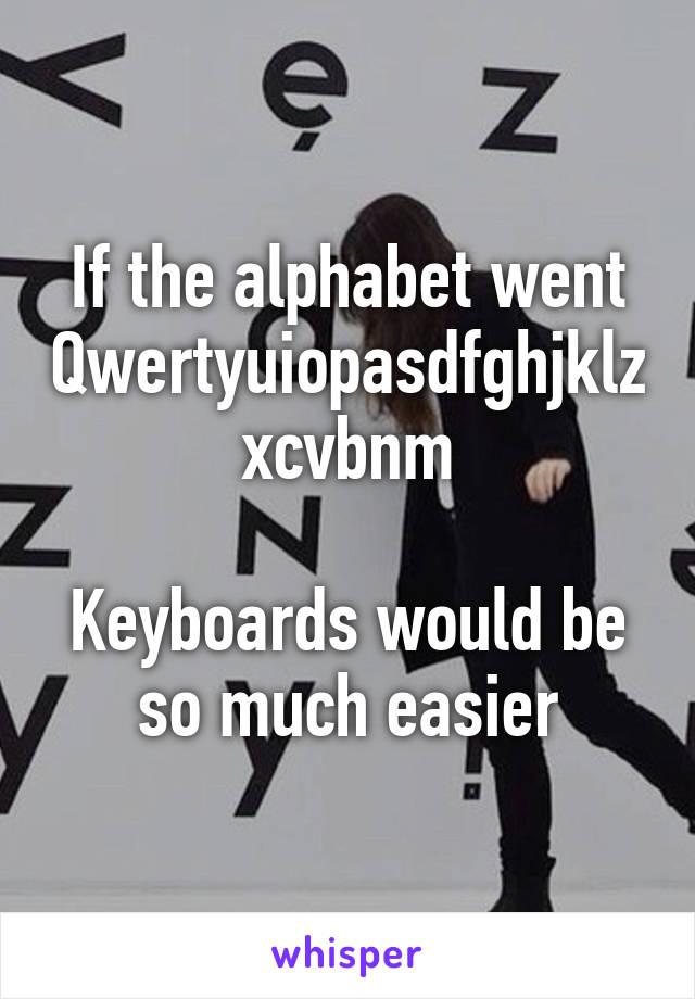 If the alphabet went Qwertyuiopasdfghjklzxcvbnm  Keyboards would be so much easier