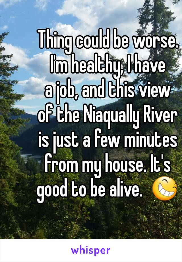Thing could be worse. I'm healthy, I have a job, and this view of the Niaqually River is just a few minutes from my house. It's good to be alive.  😆