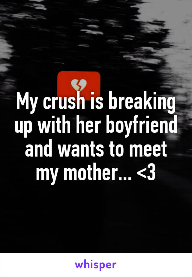 My crush is breaking up with her boyfriend and wants to meet my mother... <3