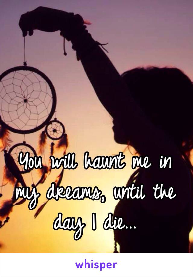 You will haunt me in my dreams, until the day I die...
