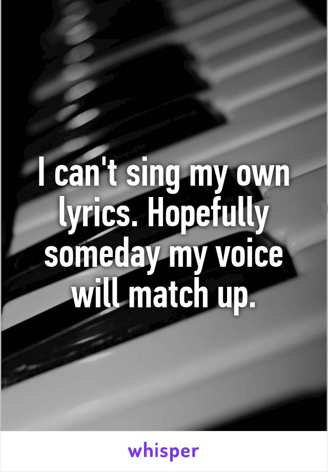I can't sing my own lyrics. Hopefully someday my voice will match up.