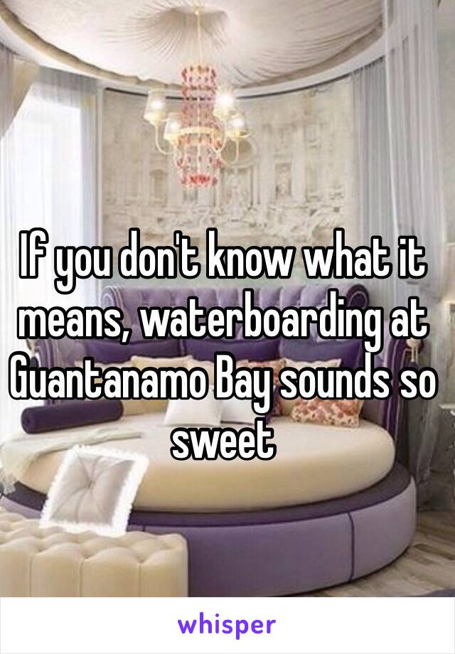 If you don't know what it means, waterboarding at Guantanamo Bay sounds so sweet