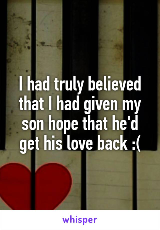 I had truly believed that I had given my son hope that he'd get his love back :(
