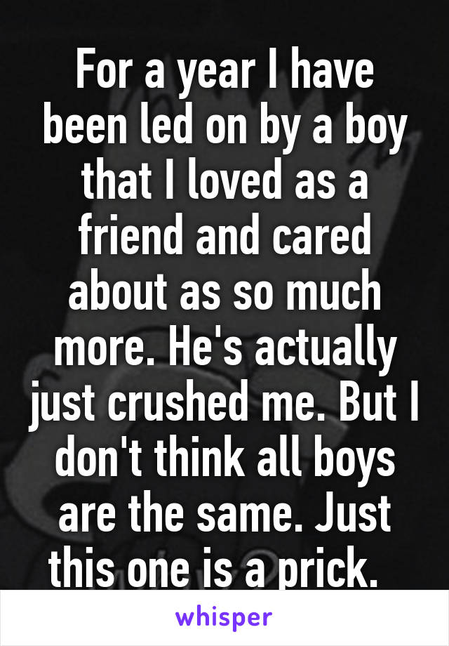 For a year I have been led on by a boy that I loved as a friend and cared about as so much more. He's actually just crushed me. But I don't think all boys are the same. Just this one is a prick.