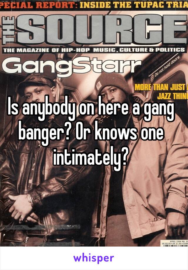 Is anybody on here a gang banger? Or knows one intimately?