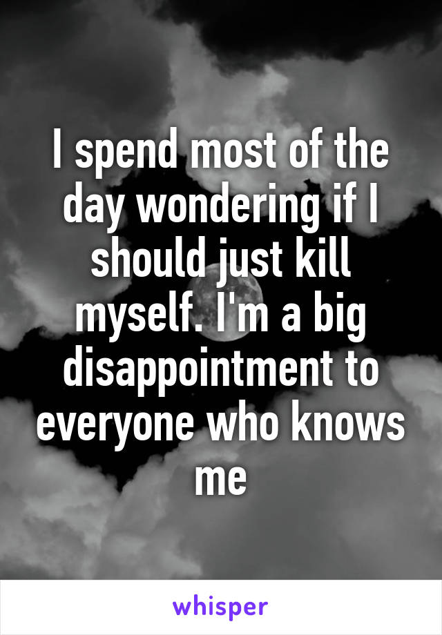 I spend most of the day wondering if I should just kill myself. I'm a big disappointment to everyone who knows me