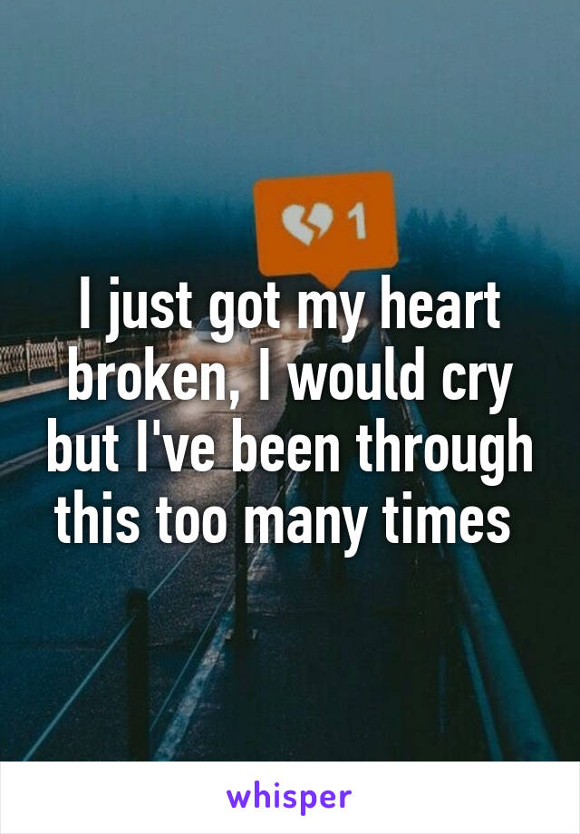 I just got my heart broken, I would cry but I've been through this too many times