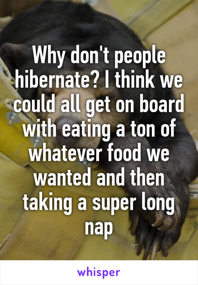 Why don't people hibernate? I think we could all get on board with eating a ton of whatever food we wanted and then taking a super long nap
