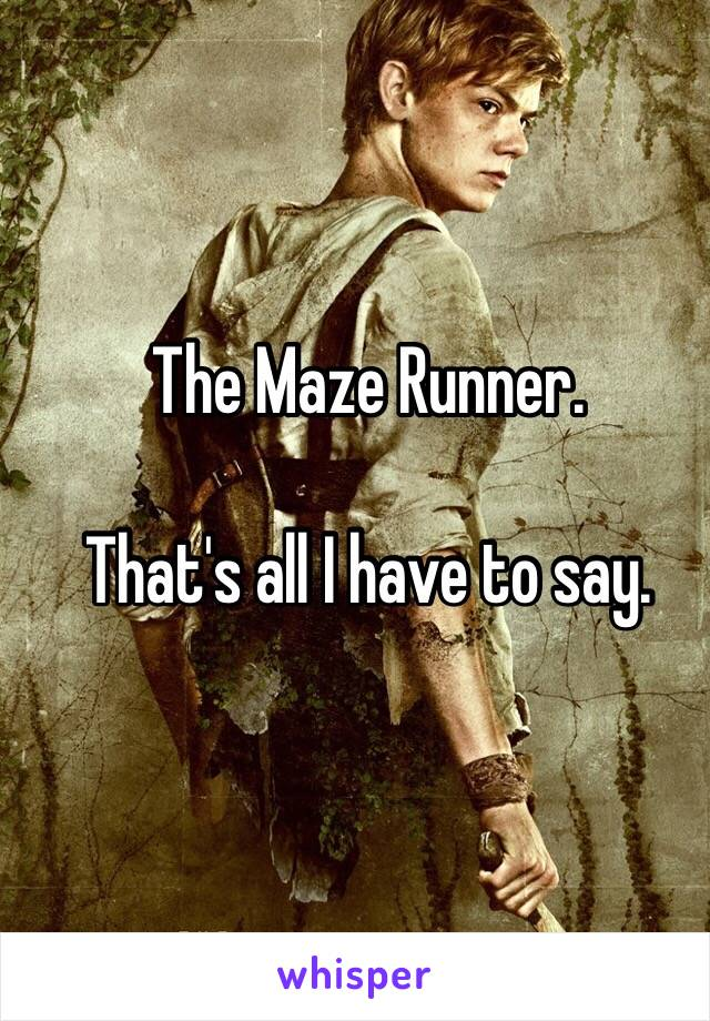 The Maze Runner.  That's all I have to say.