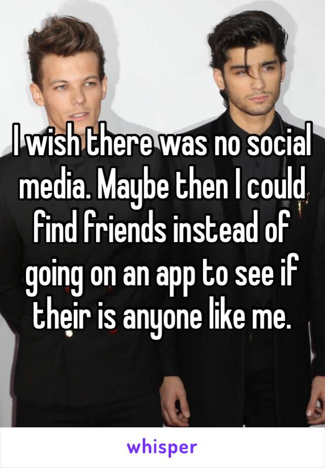 I wish there was no social media. Maybe then I could find friends instead of going on an app to see if their is anyone like me.