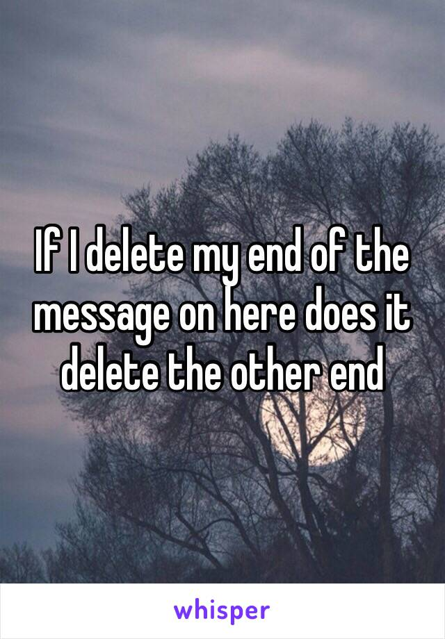 If I delete my end of the message on here does it delete the other end