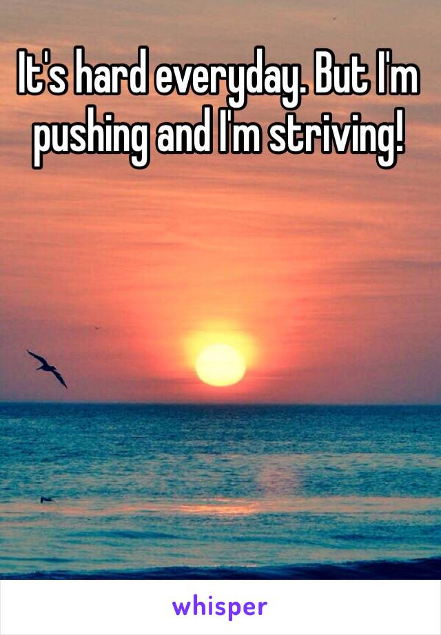 It's hard everyday. But I'm pushing and I'm striving!