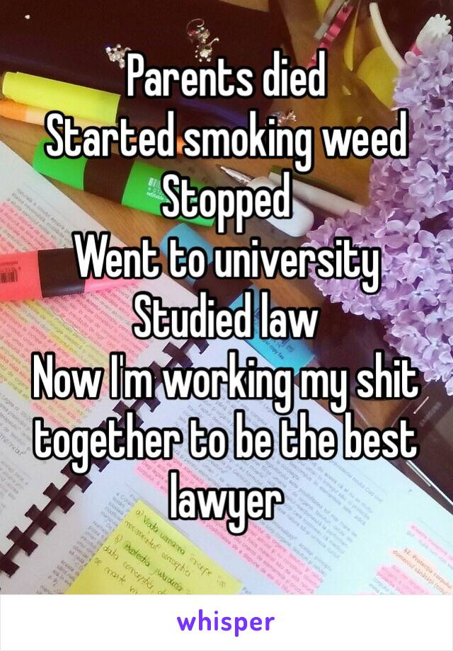 Parents died Started smoking weed Stopped Went to university Studied law Now I'm working my shit together to be the best lawyer