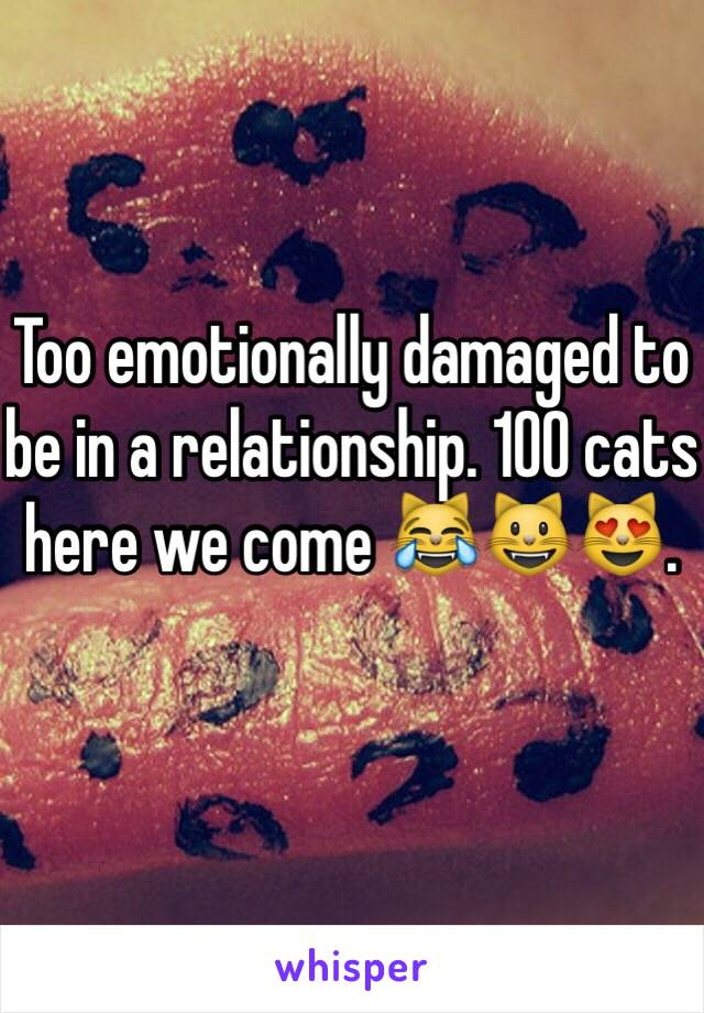 Too emotionally damaged to be in a relationship. 100 cats here we come 😹😺😻.