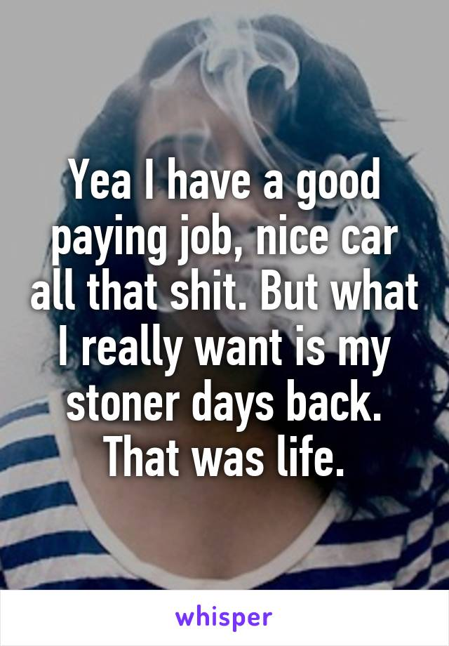 Yea I have a good paying job, nice car all that shit. But what I really want is my stoner days back. That was life.