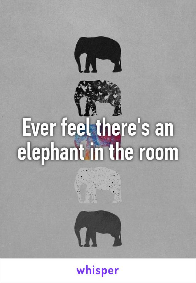 Ever feel there's an elephant in the room