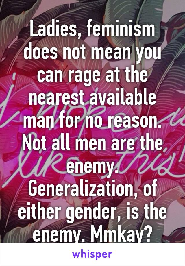 Ladies, feminism does not mean you can rage at the nearest available man for no reason. Not all men are the enemy. Generalization, of either gender, is the enemy. Mmkay?