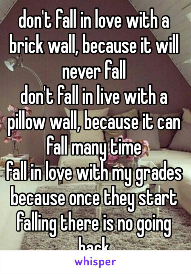 don't fall in love with a brick wall, because it will never fall   don't fall in live with a pillow wall, because it can fall many time fall in love with my grades because once they start falling there is no going back